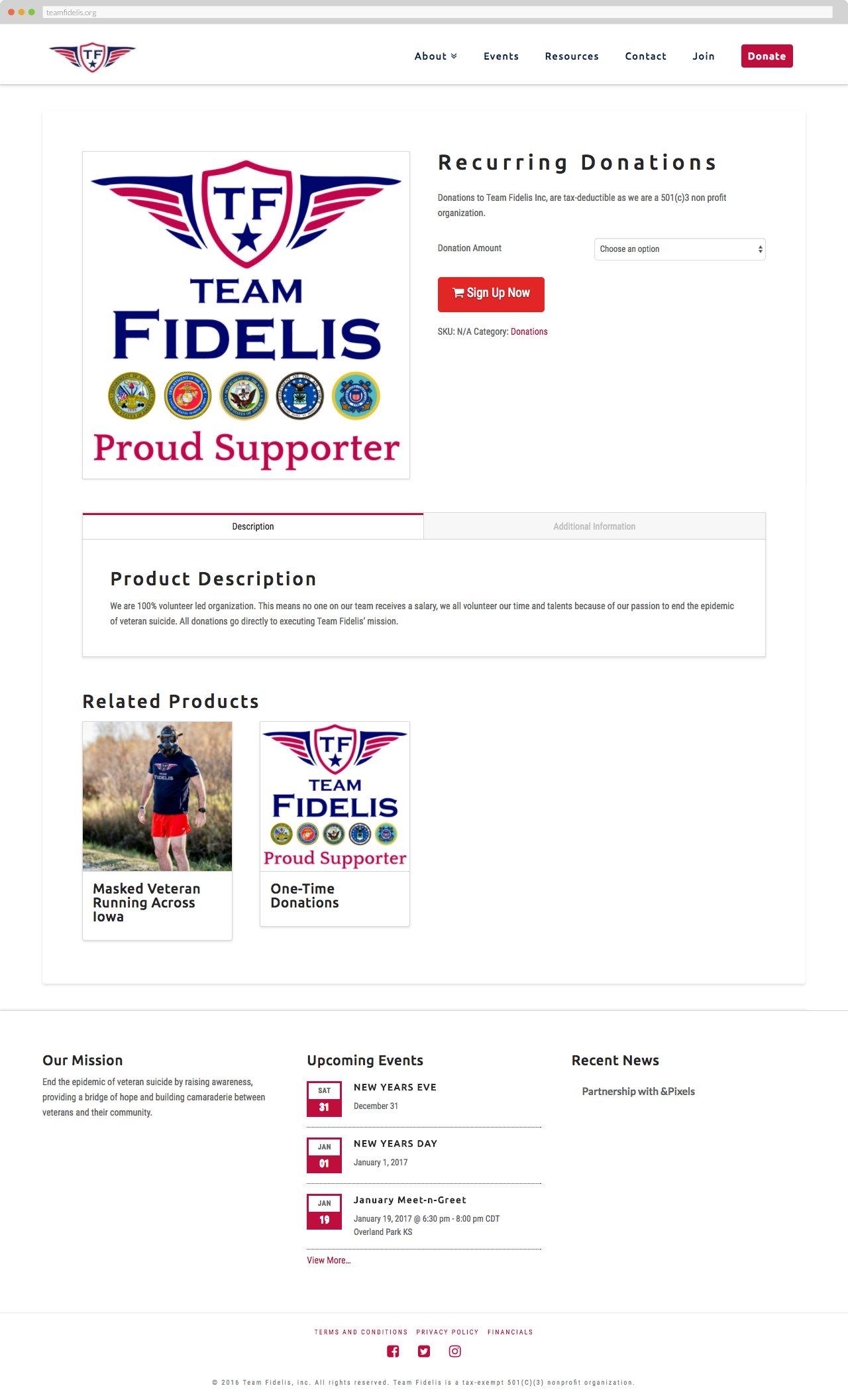Team Fidelis - Recurring Donations