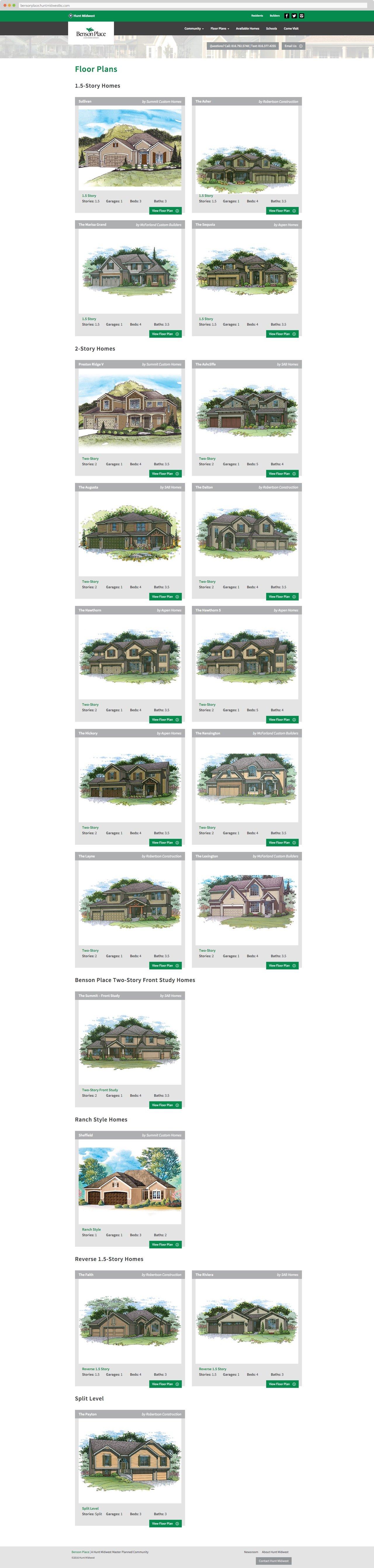 Hunt Midwest Residential Neighborhood Floor Plans