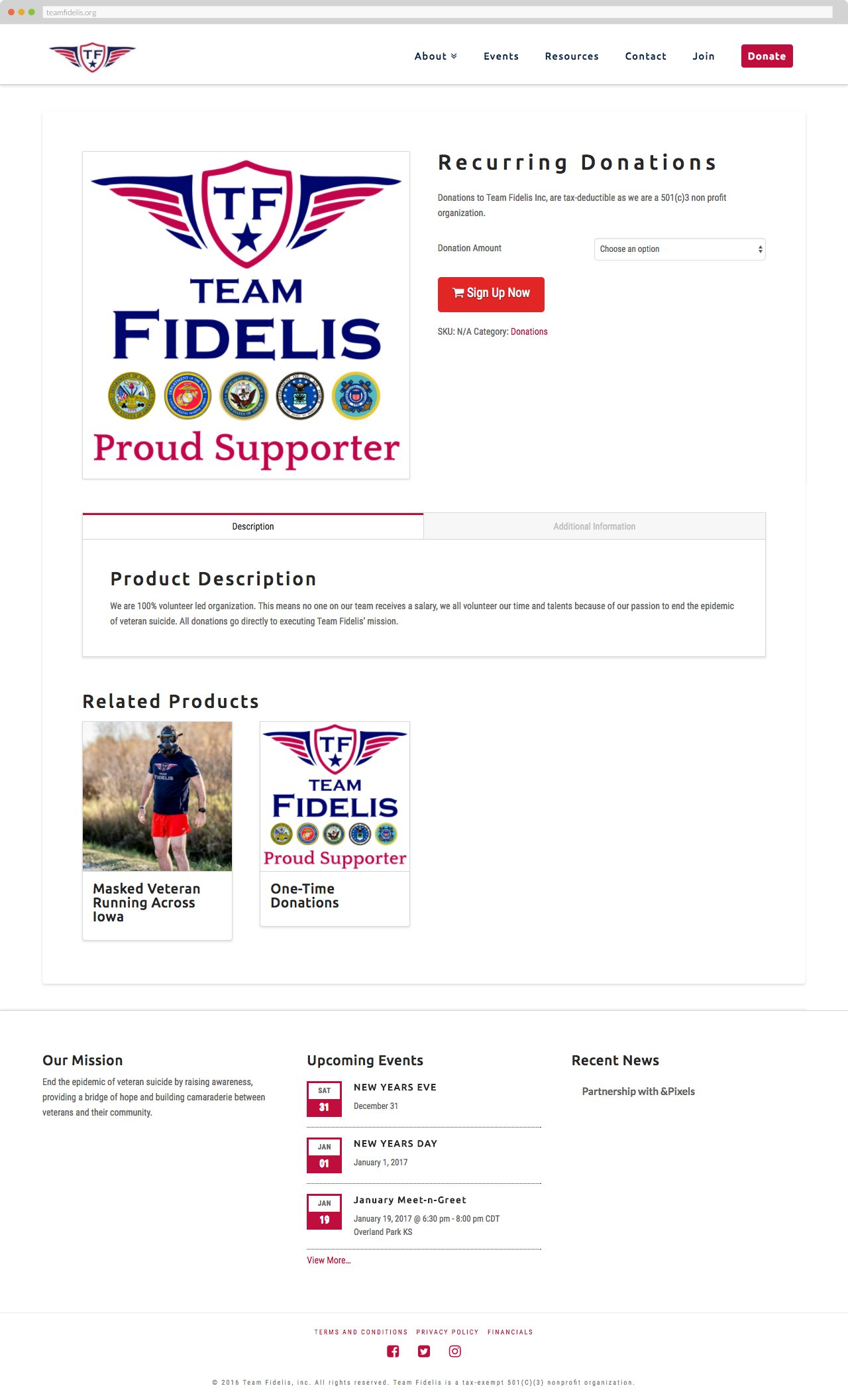 Team Fidelis - Recurring Donations
