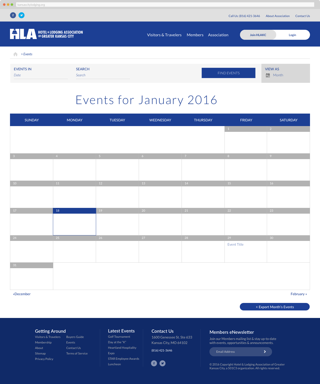 The Hotel & Lodging Association of Greater Kansas - Calendar of Events