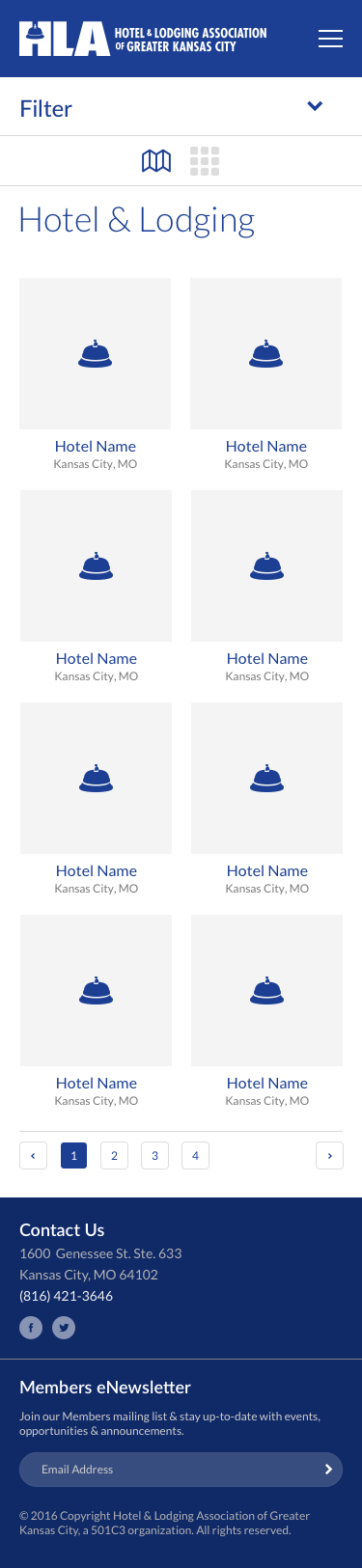The Hotel & Lodging Association of Greater Kansas - Hotel & Lodging Search, Grid View, Mobile