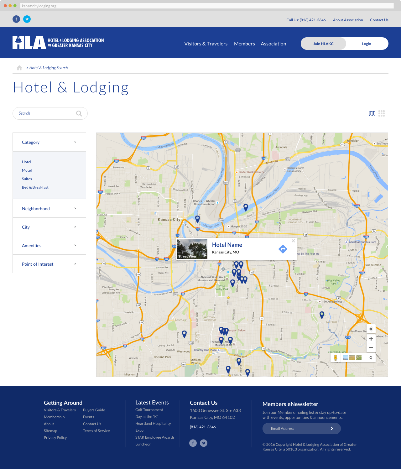 The Hotel & Lodging Association of Greater Kansas - Hotel & Lodging Search, Map View